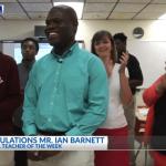 John Price Law Firm presents the News 2 Cool School Teacher award to Ian Barnett